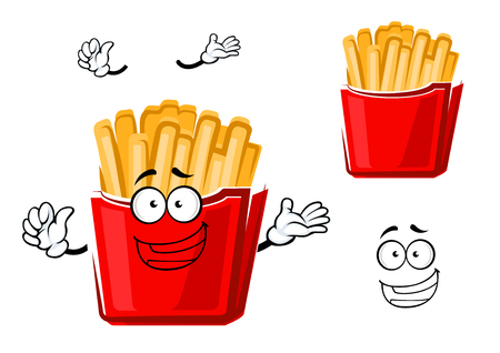 prepared potato: Funny cartoon french fries on paper cup for fast food or cafe menu themes design. Isolated on white background