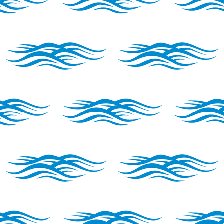billow: Sea waves seamless pattern with blue rippling water on white background. For nautical adventure or travel themes background design Illustration