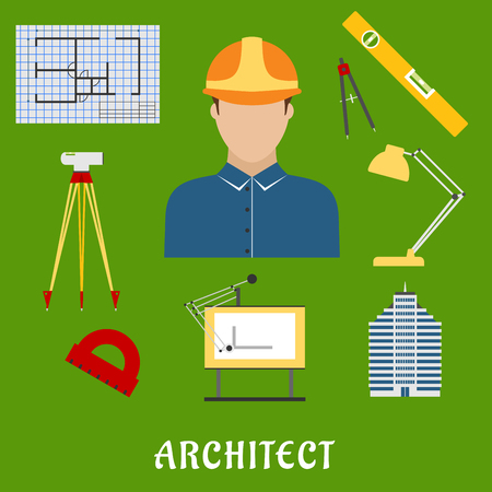 draftsman: Architect profession flat icons showing man in helmet with drawing table, blueprint, compasses, protractor, lamp, ruler,  building and automatic level on tripod