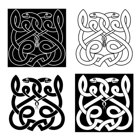 asp: Ethnic celtic snakes ornament with twisted reptiles, adorned by tribal elements. Monochrome style