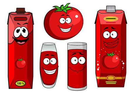 tomato juice: Natural tomato juice cartoon characters with fresh tomato vegetable, red packs and glasses, for juice drinks theme design