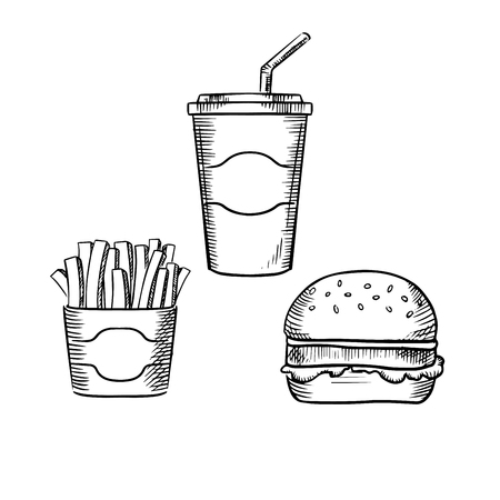leaf lettuce: Fast food hamburger with beef patty and lettuce leaf, box of french fries and sweet soda paper cup with drinking straw. Sketch style Illustration