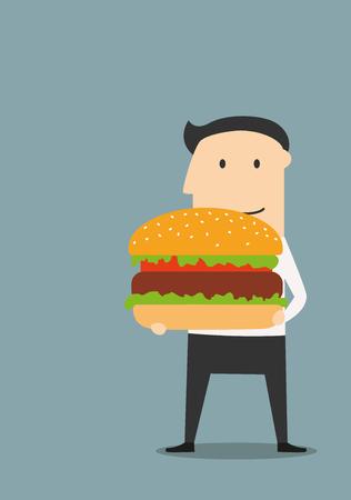 carne de res: Negocios que lleva una hamburguesa grande con una hamburguesa de ternera y adornos. Por concepto tema de la comida rápida Vectores