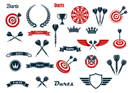 Darts game items and heraldic elements with arrows, dartboards, trophy, heraldic shield, laurel wreath, ribbon banners and crowns. For sports and leisure theme design