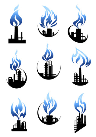 Gas and oil industry icons showing chemical industrial plants and factories with pipelines, tank storages, chimneys and powerful blue flames above them Illustration