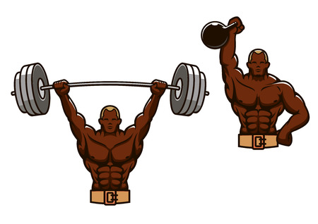 man lifting weights: Half body of cartoon african american muscular man lifting heavy weights, isolated on white background
