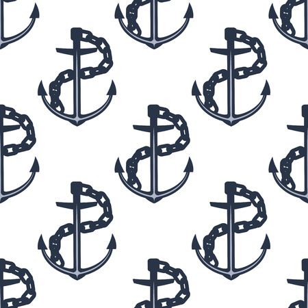 fluke: Seamless pattern of nautical ship anchors with wavy chains on white background, for marine adventure or naval themes design Illustration