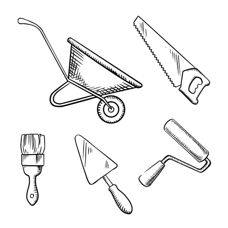 building sketch: Hand saw, trowel, wheelbarrow, paint brush and roller sketch icons, for building or DIY theme