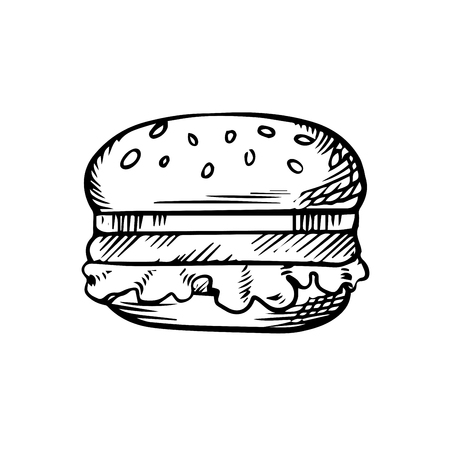 patty: Black and white sketch of a hamburger with a beef patty on a sesame bun, for fast food theme Illustration