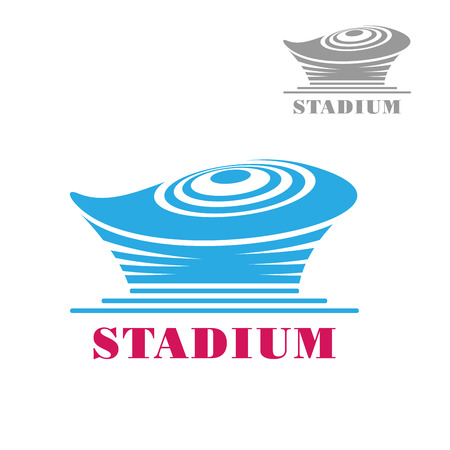 arena: Modern blue stadium or arena building icon with circular roof. For sports theme design