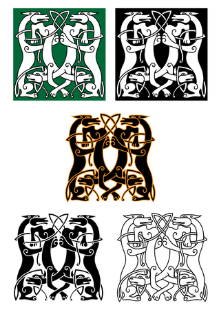celt: Entwined mythical wolf and dog beasts standing facing each other in a square design, celtic ornament style