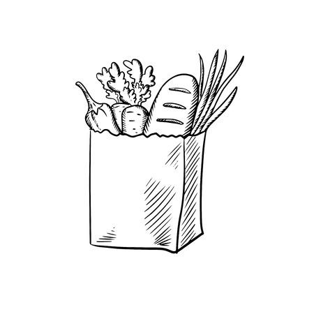 abarrotes: Bolsa de papel comercial con la zanahoria fresca, cebolla verde, verduras calabacín y barra de pan. Boceto de estilo