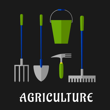 agricultural tools: Agricultural and gardening tools icons with shovel, rake, pitchfork, bucket and hand fork, for agriculture or farming themes design, flat style