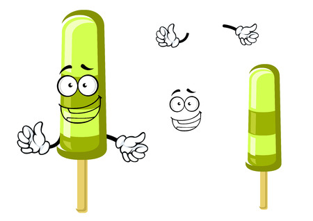 popsicle: Happy green cartoon frozen popsicle ice cream on a stick with waving arms and a smiling face. For dessert menu design