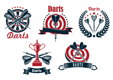 ダーツ ダーツボード、矢印、トロフィー カップ ゲーム アイコンのデザインの星で飾られた月桂樹の花輪とリボンのバナー
