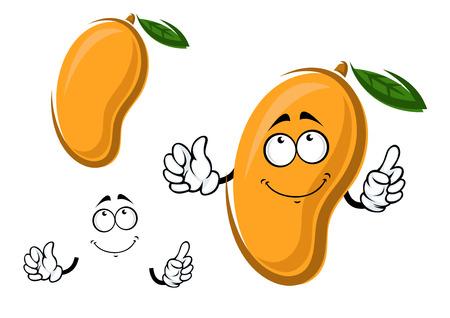 mango: Żółty dojrzałe owoce mango cartoon character z zielonym liściem na białym tle. Dla zdrowej żywności i rolnictwa tematów