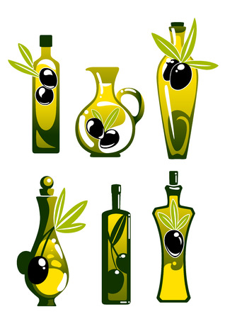 olive: Extra virgin olive oil in glass bottles and jugs, decorated by twigs with black fruits and leaves, for healthy vegetarian food