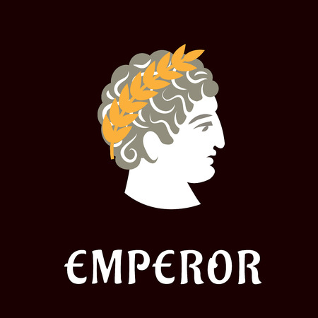 Roman emperor Julius Caesar head profile with golden laurel wreath on dark brown background with caption Emperor below, flat style Ilustração