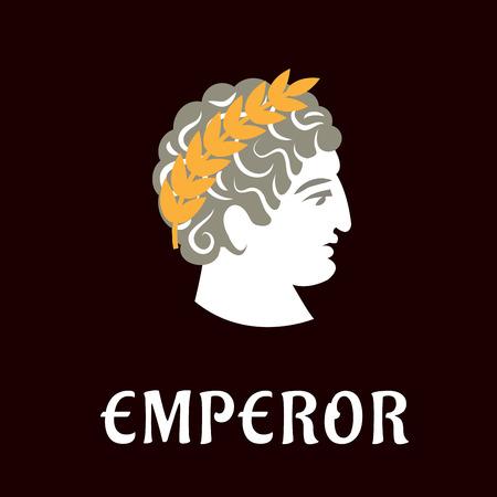 dark brown background: Roman emperor Julius Caesar head profile with golden laurel wreath on dark brown background with caption Emperor below, flat style Illustration