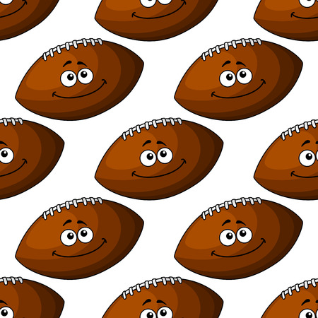 brown leather: Seamless pattern of a smiling brown leather football in square format, for sport design