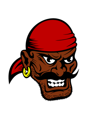 Fierce dark-skinned cartoon pirate wearing a red bandanna and earring in his ear with a black moustache and toothy evil grin Illustration
