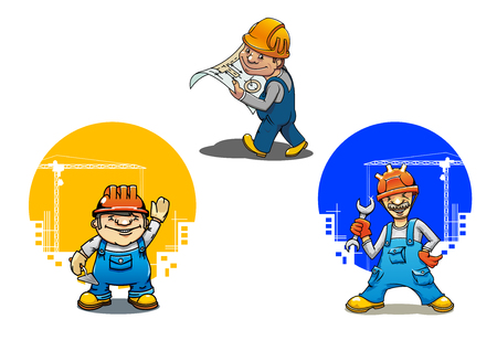 carpenter tools: Funny cartoon engineer with building project, construction worker with spanner and bricklayer with trowel, for construction industry theme Illustration