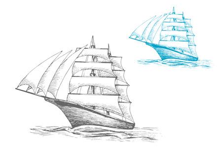 항해, 모험이나 여행 테마 졸졸 흐르는 바다에서 항해에서 돛대, 세 해변과 항해 선박 또는 barque입니다