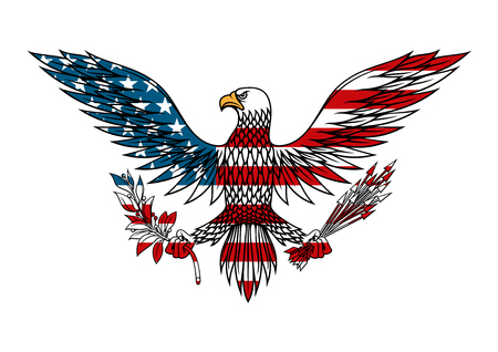 American eagle icon with outstretched wings holds bundle of arrows and olive branch in talons, for tattoo or t-shirt design Vectores