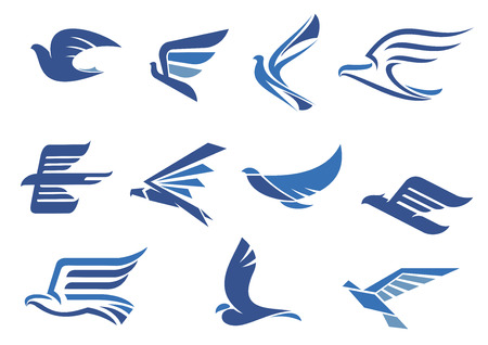 wings logos: Flying blue birds as eagle, hawk, falcon and dove in flight. For business, delivery, transportation or travel design Illustration