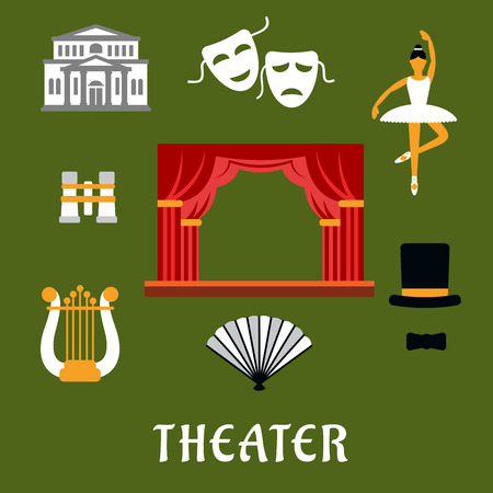 theatrical dance: Theater and art flat icons of stage with red front curtain, drama and comedy masks, harp, theater building, dancing ballerina, opera glasses, hand fan and top hat with tie bow