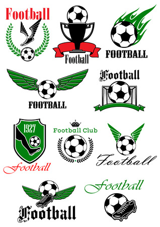 championship: Football and soccer icons with soccer balls, shoes, trophy and gate, decorated by wings, flame, shield, wreaths, ribbon banners and crown