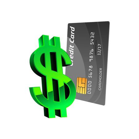 personal banking: Bank credit card with glossy green dollar sign. For finance, businesses or banking theme design