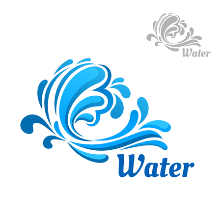 water logo: Blue wave emblem with water splashes and swirling drops isolated on white background with caption Water Illustration