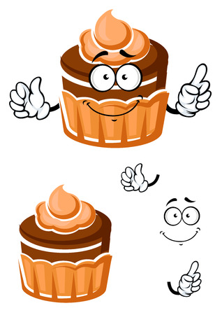 pasticceria: Sweet chocolate cupcake cartoon character with caramel cream decoration on the top, for dessert menu or pastry shop theme