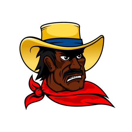 granja caricatura: Moustached hombre vaquero afroamericano en el sombrero amarillo y el pa�uelo rojo, para el dise�o occidental o la agricultura, estilo de dibujos animados