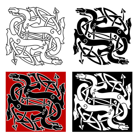 cult: Celtic dragons knot pattern with medieval stylized totem animals, adorned by tribal decorative elements, for tattoo or t-shirt design
