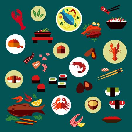 camaron: Marisco y delicatessen iconos planos de sushi, caviar, cangrejo, camarones, langostas, ostras, mejillones, pulpo, palillo, filete de salmón, pescados a la plancha y ensalada de camarones, sopa de pescado, verduras y hierbas Vectores