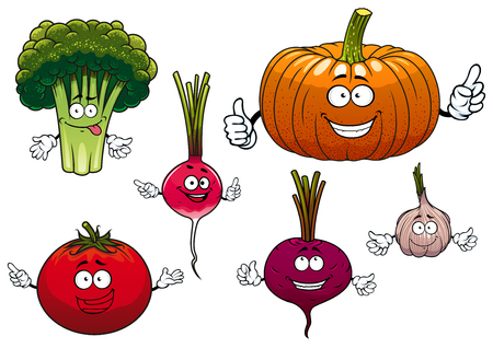 pumpkin tomato: Cartoon isolated funny vegetable characters with happy faces and waving arms including beetroot, broccoli, radish, pumpkin, tomato and garlic, isolated on white