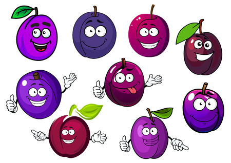prune: Tasty purple plum fruits cartoon characters with green leaves and playful smiling face, for agriculture or healthy food Illustration