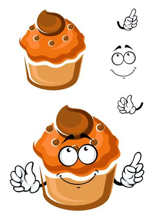 toppings: Funny cartoon muffin with chocolate toppings on white background, isolated on white