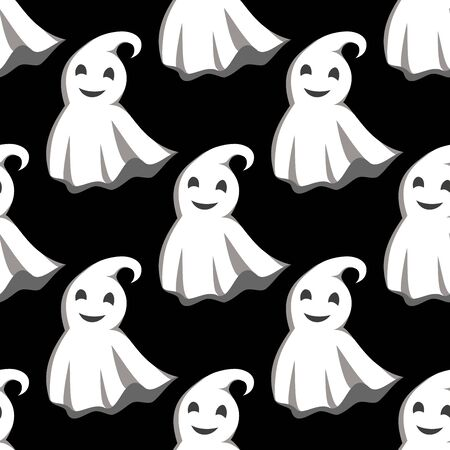 apparition: Flying friendly little ghosts in white capes seamless pattern on black background, for Halloween theme design Illustration