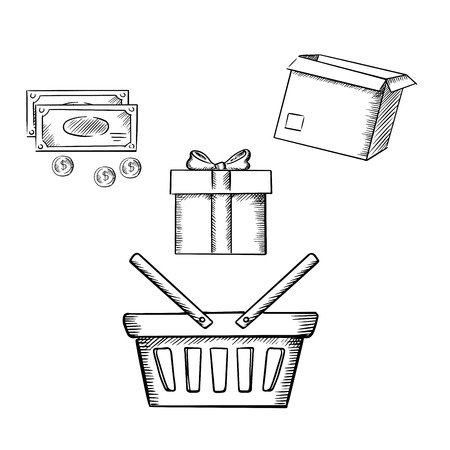 gift basket: Shopping basket, gift box with ribbon bow, cardboard parcel, money bills and coins. Sketch icons for shopping theme