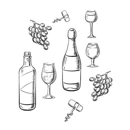 Bottiglie di un tavolo e spumanti con bicchieri di vino, uva frutta e cavatappi in stile schizzo, per bere o alimentari temi