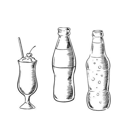cocktail drink: Beer and soda bottles with milk cocktail, served in tall glass with cherry fruit and drink straw. Sketch image Illustration