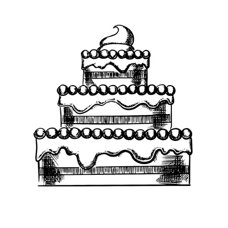 white sugar: Delicious tiered pie filled with fruit jam, decorated by buttercream and sugar beads, isolated on white