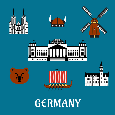 drakkar: Germany travel concept with flat icons of bear, Reichstag building, gothic cathedral and castle, windmill, viking helmet with horns and longship drakkar