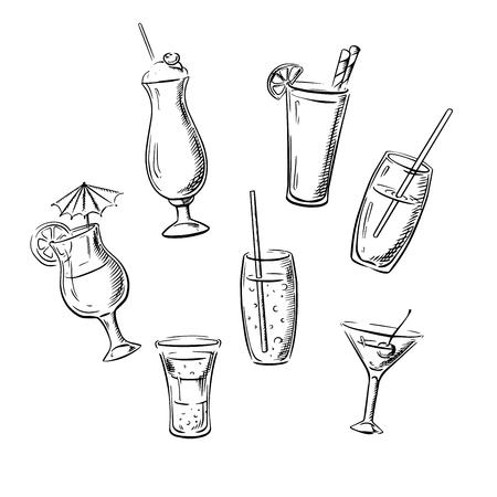 bebidas alcohÓlicas: bebidas alcohólicas, cócteles y bebidas que se sirven en vasos con frutas, la paja y el paraguas. iconos del bosquejo