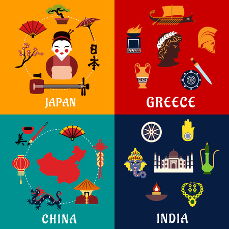 india culture: Culture,religious traditions, history and national heritage of Japan, China, India and Greece flat icons. For travel and tourism themes Illustration