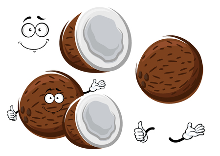 copra: Fresh ripe coconut fruit cartoon character with sweet white copra inside, giving thumb up sign. For food or tropical dessert  design Illustration