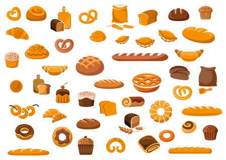 pastries: Bakery and pastry products icons set with various sorts of bread, sweet buns, cupcakes, dough and cakes for bakery shop or food design Illustration